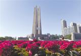 唐山抗震纪念碑广场姹紫嫣红、百花盛开(图)