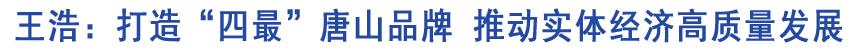 """省委常委、市委书记王浩:打造""""四最""""唐山品牌"""