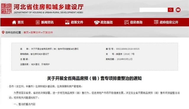 """河北省重点整治商品房违规收取""""意向金""""等预(销)售行为"""