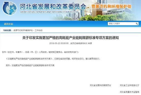 到2020年河北省将新制定20项地方能耗标准