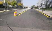 唐山这个路段道路两侧黄色禁止停车标线己施划完毕